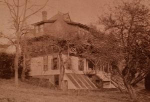 Photo of Pine Knoll house, used on Xmas card. Shows expanded house, after 1880.